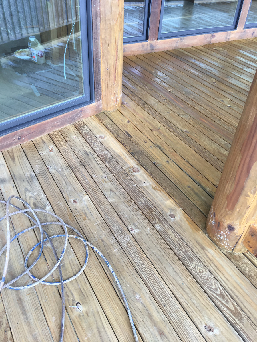 Stained under part of deck